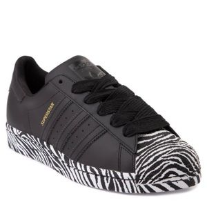 Womens adidas Superstar Athletic Shoe Black/Zebra